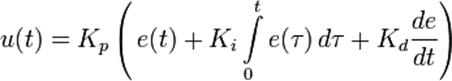 u(t) = k_p\left(\,{e(t)} + k_{i}\int\limits_{0}^{t}{e(\tau)}\,{d\tau} + k_{d}\frac{de}{dt}\right)